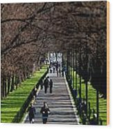 Alley Of Trees With Runners And Joggers Wood Print