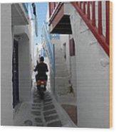 Alley Way In Mykonos Wood Print