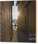 Alley With Sunbeam Wood Print