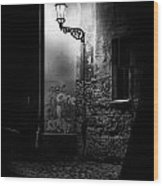 Alley Of Prague In Black And White Wood Print