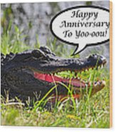 Alligator Anniversary Card Wood Print