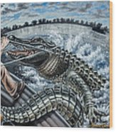 Alligator Hunt Wood Print