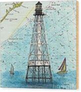 Alligator Reef Lighthouse Fl Keys Nautical Map Cathy Peek Wood Print