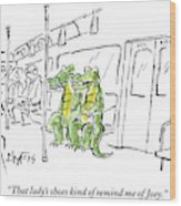 Alligators Riding The Subway Wood Print