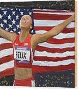 Allison Felix Olympian Gold Metalist Wood Print