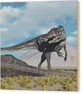 Allosaurus Dinosaurs Approaching Wood Print