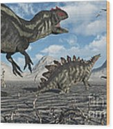 Allosaurus Dinosaurs Moving In To Kill Wood Print