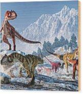 Allosaurus Pack Wood Print