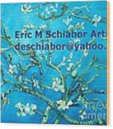 Almond Blossom Branches Wood Print