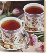 Almond Tea For Two Wood Print