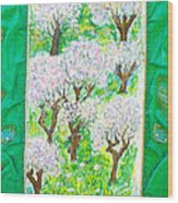 Almond Trees And Leaves Wood Print
