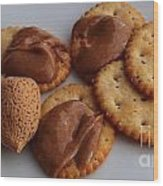 Almonds - Almond Butter - Crackers - Food Wood Print