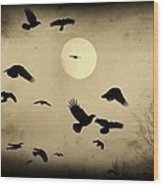 Almost Full Moon And Crows Wood Print