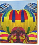 Almost Inflated Hot Air Balloons Mirror Image Wood Print
