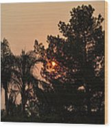 Almosts Gone Now Sunset In Smoky Sky Wood Print