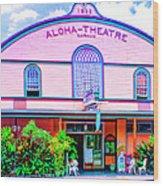 Aloha Theatre Kona Wood Print