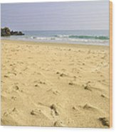 Alone At Bolonia Beach Wood Print