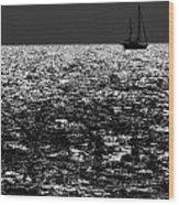 Alone At Sea Wood Print