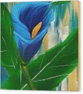 Alone In Blue- Calla Lily Paintings Wood Print
