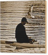 Alone In His Thoughts But Not Alone Wood Print by Carol F Austin