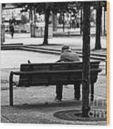 Alone In The Park Mono Wood Print