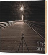 Alone On The Pier Wood Print by Ron Hoggard