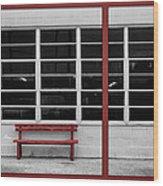Alone - Red Bench - Windows Wood Print