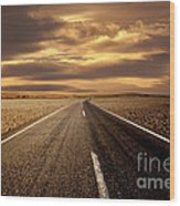 Alone Road Wood Print