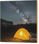 Alone Under The Stars Wood Print