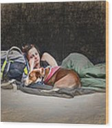Alone With Her Dog Wood Print
