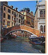 Along The Canals Of Venice Wood Print