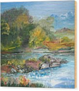 Along The Riverbank Wood Print