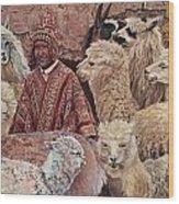 Alpaca shepherd Wood Print