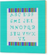 Alphabet Blue Wood Print