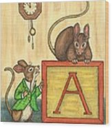 Alphabet Mice Wood Print