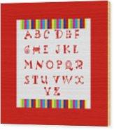 Alphabet Red Wood Print