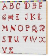 Alphabet With Multicolor Wood Print