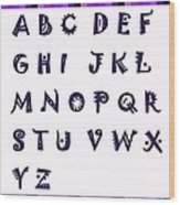 Alphabet With Purple Stripes Wood Print