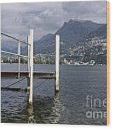 Alpine Lake And A Jetty Wood Print