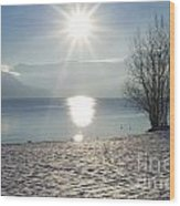 Alpine Lake With Snow Wood Print