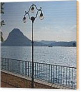 Alpine Lake With Street Lamp Wood Print