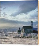 Alpine Scenery With Church In The Frosty Morning Wood Print