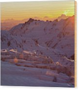 Alpine Sunset On High Alpine Glacier Wood Print