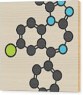 Alprazolam Sedative Drug Molecule Wood Print