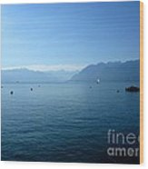 Alps And Leman Lake Wood Print