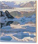 Alsek Glacier In St. Elias Mountains Wood Print