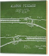 Alston Firearm Patent Drawing From 1887- Green Wood Print