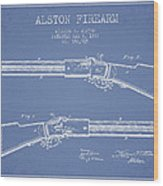 Alston Firearm Patent Drawing From 1887- Light Blue Wood Print