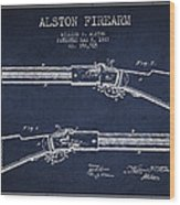 Alston Firearm Patent Drawing From 1887- Navy Blue Wood Print