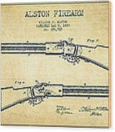 Alston Firearm Patent Drawing From 1887- Vintage Wood Print